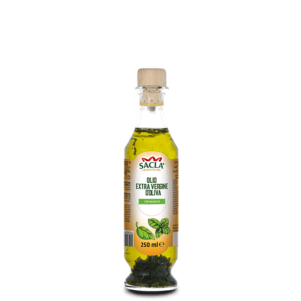 Extra virgin olive oil seasoning with basil