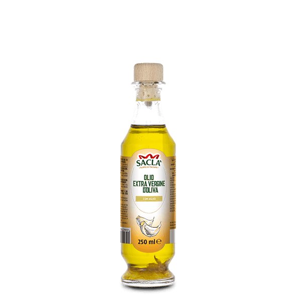 Extra virgin olive oil seasoning with garlic