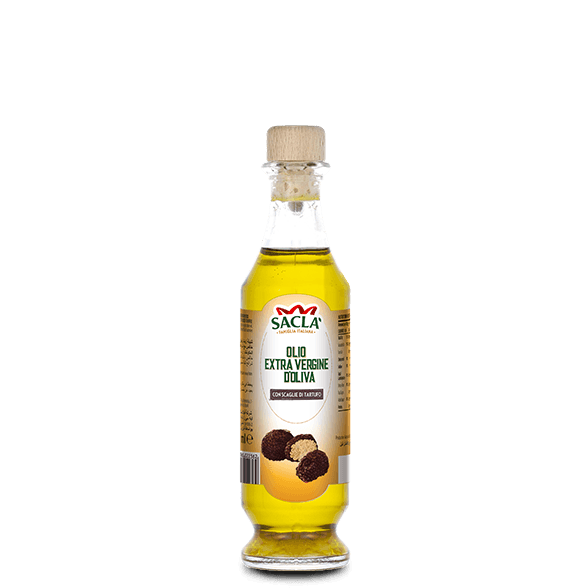 Extra virgin olive oil seasoning with black summer truffle