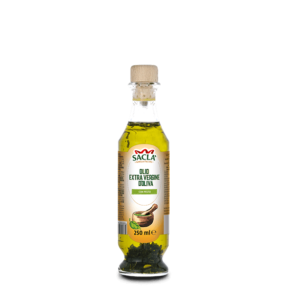 Extra virgin olive oil seasoning with pesto